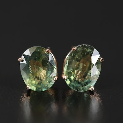 14K Gold 2.53 CTW Green Sapphire Stud Earrings