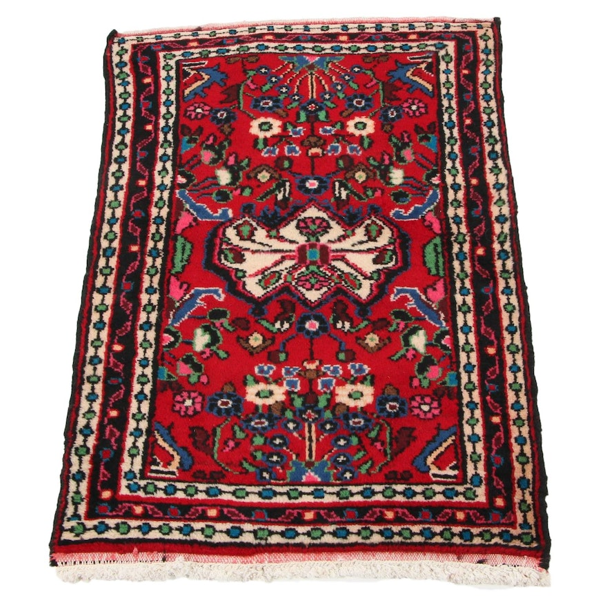 2'1 x 3'3 Hand-Knotted Persian Zanjan Accent Rug, 1970s