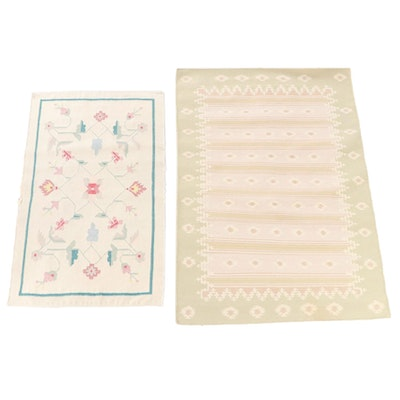 Handwoven Scandinavian Style Floral and Geometric Kilim Area Rugs