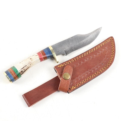 Damascus Steel Knife with Antler and Color-Banded Handle and Leather Sheath