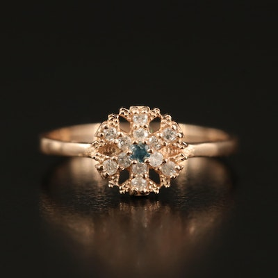 14K Diamond Snowflake Ring