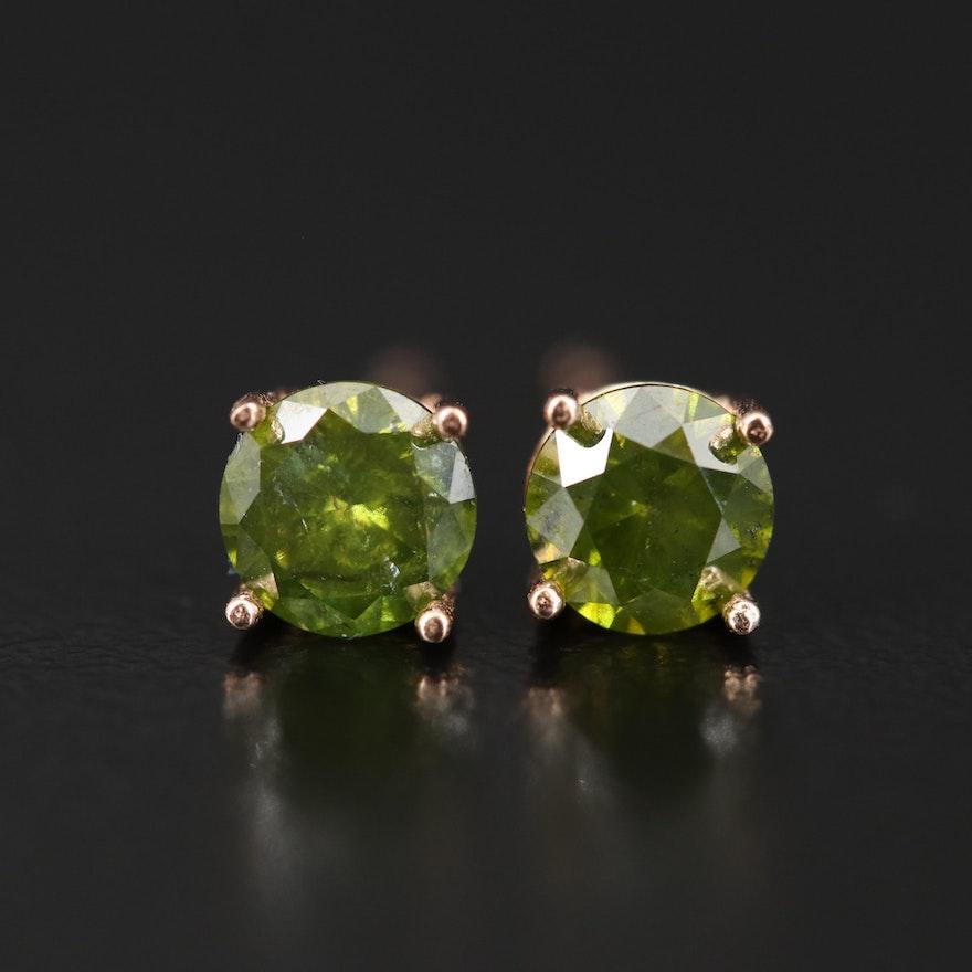 14K Rose Gold 0.80 CTW Diamond Stud Earrings