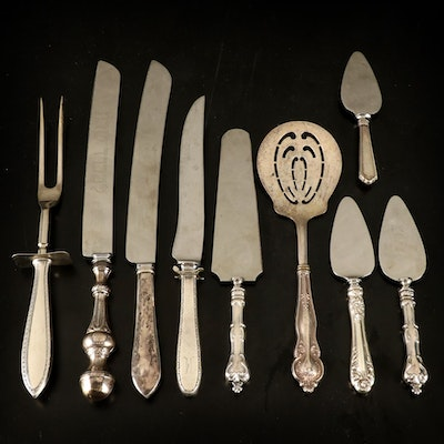 Sterling Silver Handled Serving Utensils, 20th Century