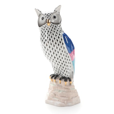 "Herend Black Fishnet ""Owl on Rock"" Porcelain Figurine"
