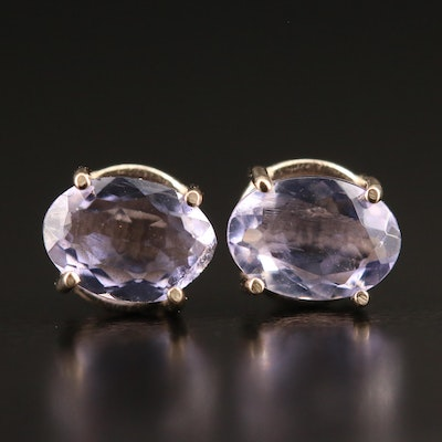 14K Oval Tanzanite Stud Earrings