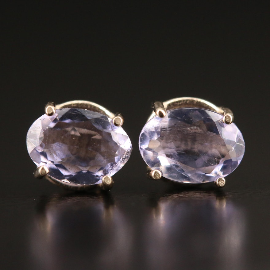 14K Oval Tanzanite Stud Earrings