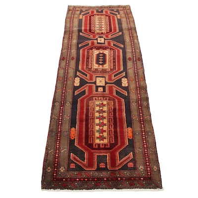 3'4 x 9'8 Hand-Knotted Northwest Persian Lenkoran Long Rug, 1960s