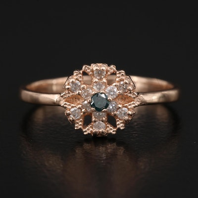 14K Rose Gold Diamond Snowflake Ring