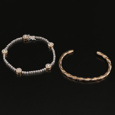 Sterling Diamond Bracelet with Twisted Cuff