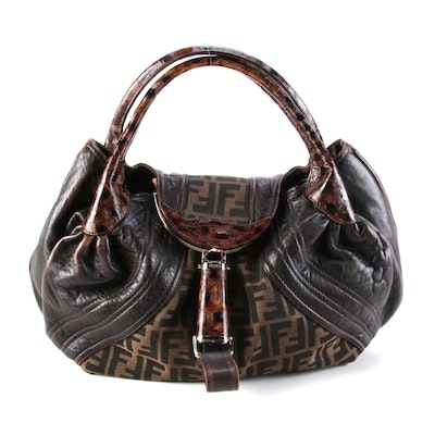 Fendi Spy Bag in Zucca Print Canvas with Tortuga Embossed Leather Trim