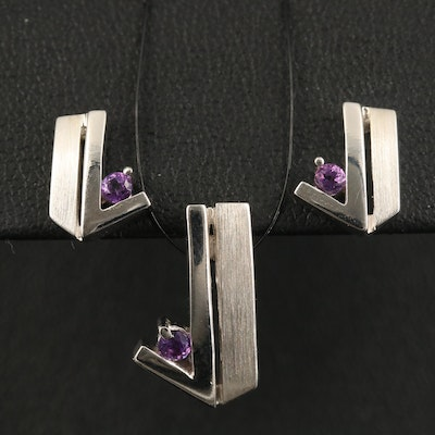 Sterling Amethyst Geometric Pendant and Earring Set