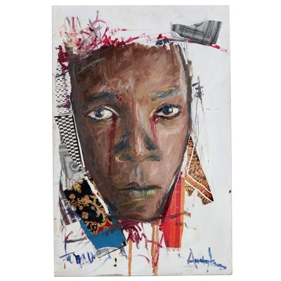 "Stephen Aifegha Mixed Media Painting ""Sorrows, Tears, and Blood"""
