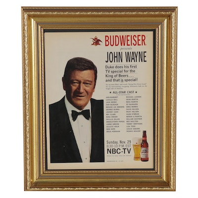 Budweiser and John Wayne Offset Lithograph Advertisement