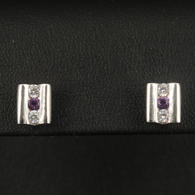 Sterling Channel Stud Earrings with Cubic Zirconia and Amethyst