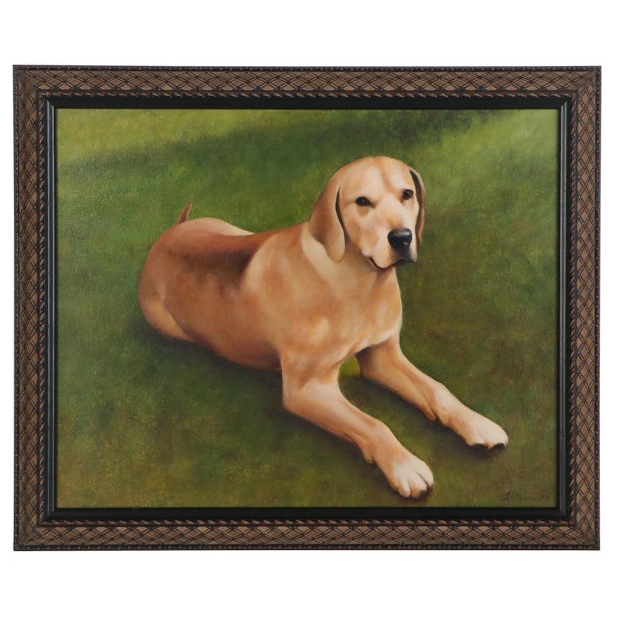 Acrylic Painting of a Yellow Labrador Retriever, 1997