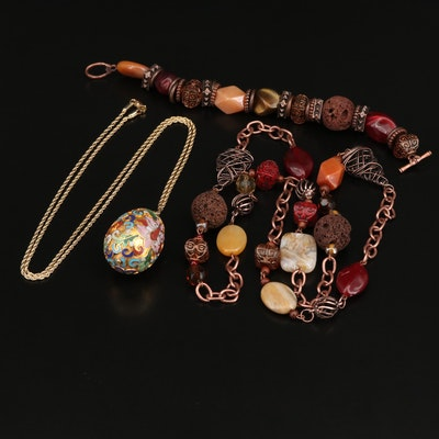 Cloisonné Egg Necklace with Lava Stone Necklace and Bracelet Set
