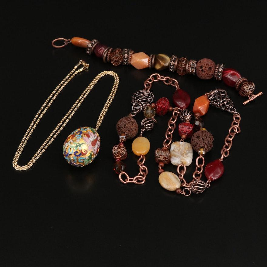 Cloisonné Egg Necklace with Lava Stone Necklace and Bracelet Set