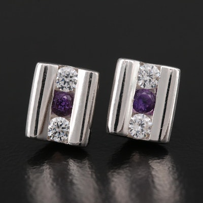 Sterling Silver Amethyst and Cubic Zirconia Earrings