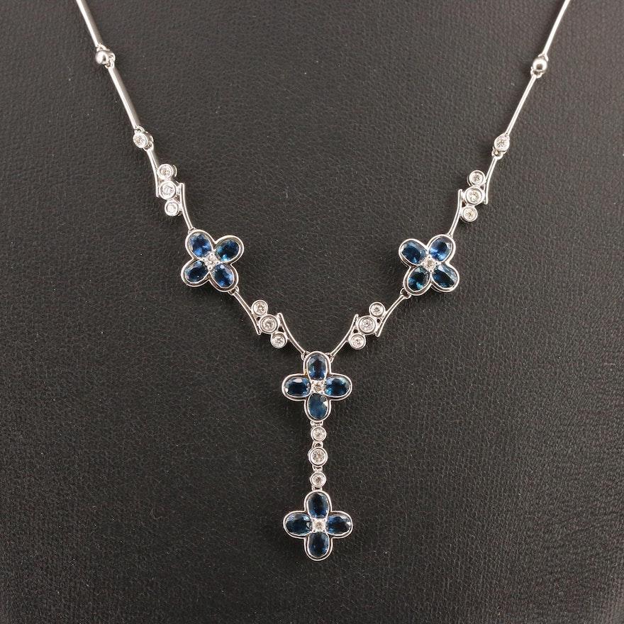 Sterling Silver Sapphire and Diamond Quatrefoil Drop Necklace