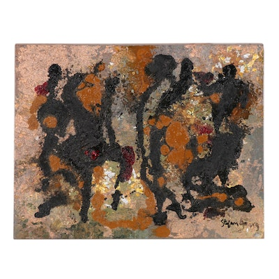 "Stefan Georg Mixed Media Painting ""African Tribal Dance"""