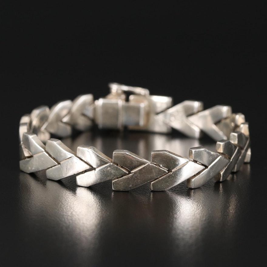 Mexican Sterling Silver Chevron Link Bracelet