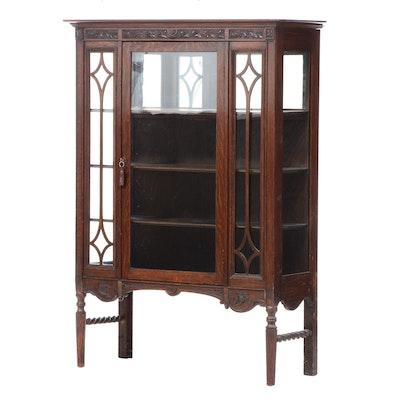 Tudor Revival Carved Oak Glass Front China Cabinet