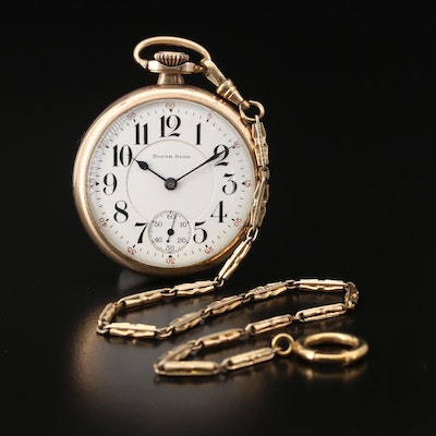 1922 South Bend Gold Filled Pocket Watch with Chain Fob