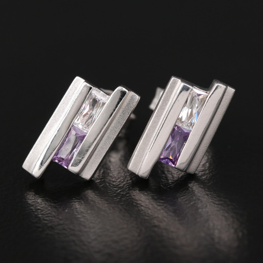 Sterling Channel Stud Earrings with Cubic Zirconia