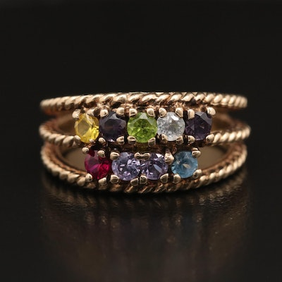 10K Multi-Colored Imitation Gemstone Ring with Rope Detail
