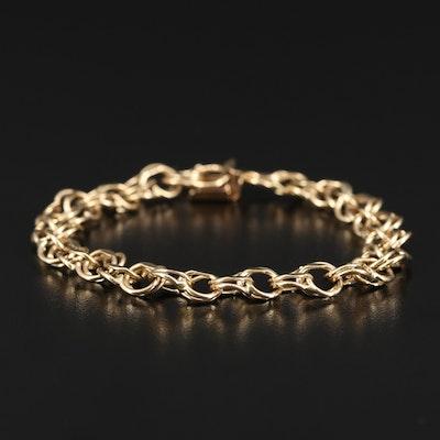 14K Double Link Charm Bracelet