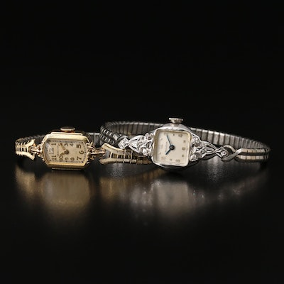 Vintage American Stem Wind Wristwatches Featuring Diamond Accents