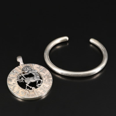 Sterling Jewelry Featuring Sagittarius Zodiac Pendant and Cuff