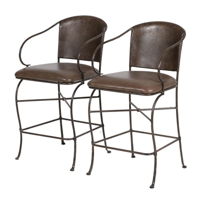 Pair of Pier 1 Industrial Style Metal and Leather Barstools