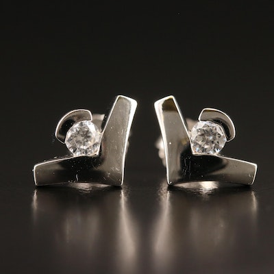 Sterling Cubic Zirconia Chevron Stud Earrings