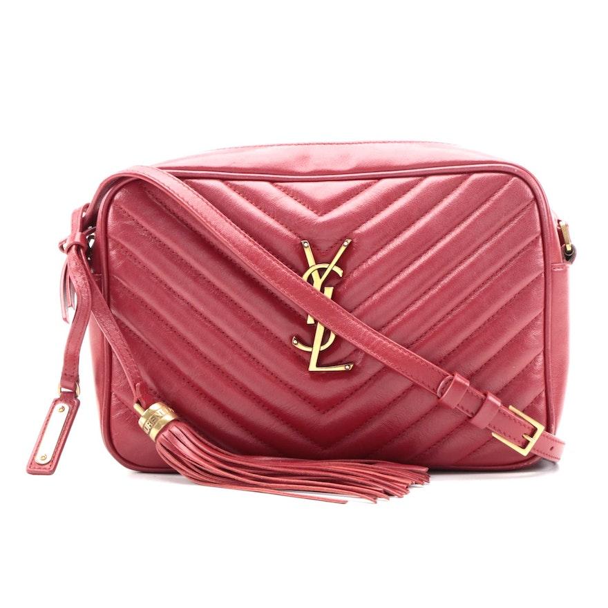 Saint Laurent Lou Red Chevron Matelassé Camera Crossbody Bag