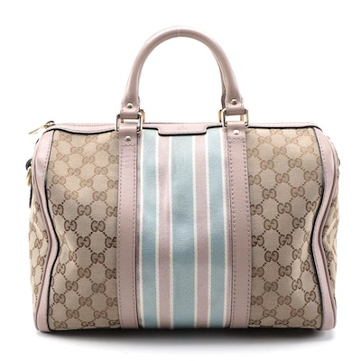 Gucci Boston Bag in GG Canvas with Blush Leather Trim with Detachable Strap