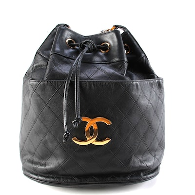 Chanel Bucket Bag in Black Diamond Stitch Quilted and Smooth Leather