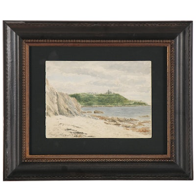 Coastal Landscape Watercolor Painting, 1894