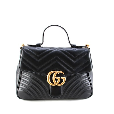 Gucci GG Marmont Small Top Handle Flap Bag in Black Matelassé Leather