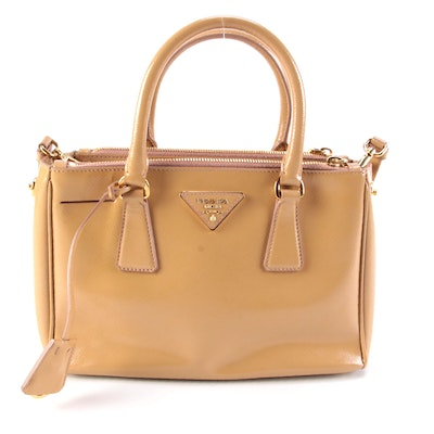 Prada Double Zip Lux Mini Tote in Neutral Vernice Saffiano Leather
