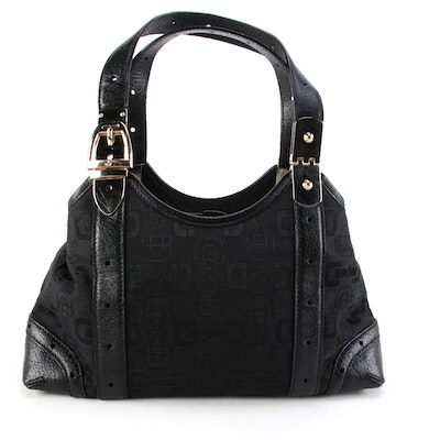 Gucci Buckle Shoulder Bag in Black Horsebit Print Canvas