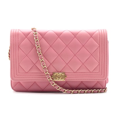 Modified Chanel Quilted Pink Lambskin Boy WOC Clutch Bag