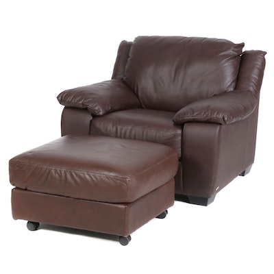 Italsofa Leather Lounge Chair and Ottoman, Contemporary