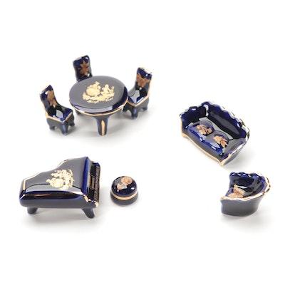 Castel Hand-Painted Limoges Porcelain Miniature Furniture