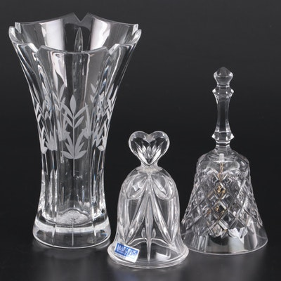 "Marquis by Waterford ""Sweet Memories"" Bell with Other Crystal Bell and Vase"