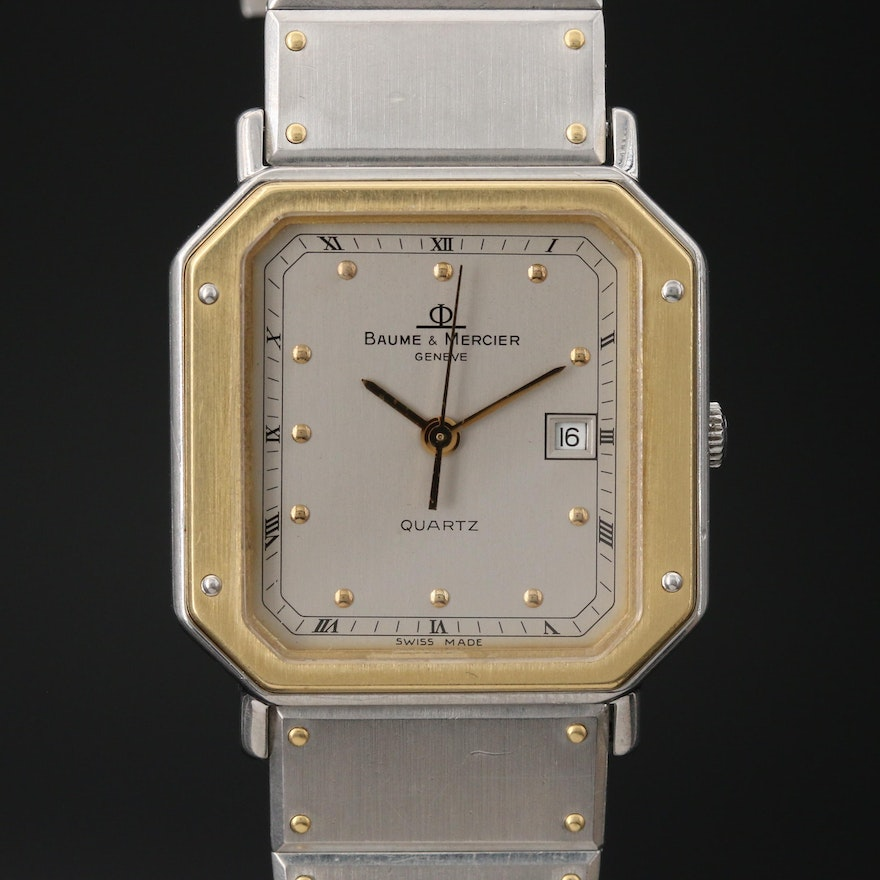 Vintage Baume & Mercier 18K Gold and Stainless Steel Quartz Wristwatch
