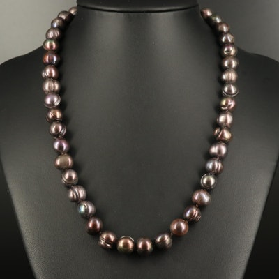 Baroque Pearl Strand Necklace with 14K Diamond Clasp