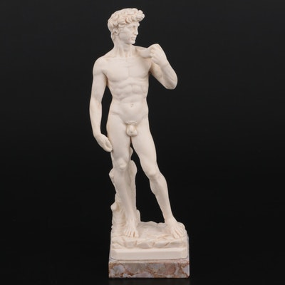 """A. Santini Cast Resin and Marble """"David"""" After Michelangelo"""