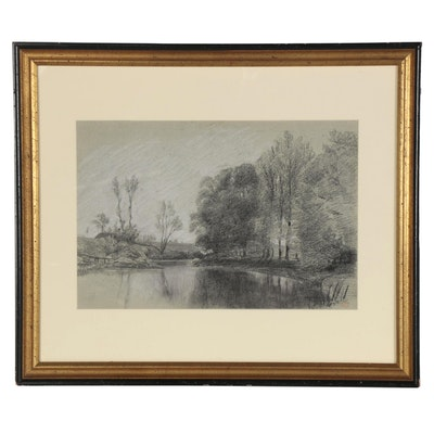 """Paul Huet Charcoal and Chalk Drawing """"Paysage Fluvial"""""""