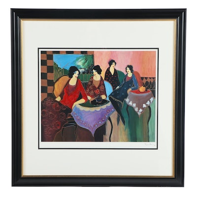 """Offset Lithograph of Cafe Scene after Itzchak Tarkay """"Two by Two"""""""
